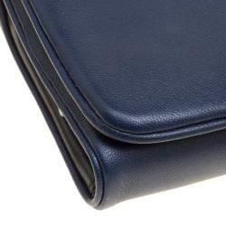 Tory Burch Navy Blue Leather Beau Wristlet