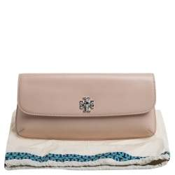 Tory Burch Pink Leather Slim Diana Flap Clutch