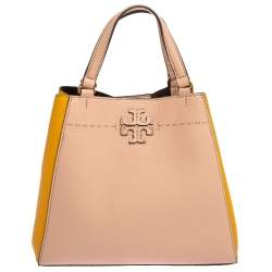 Tory Burch Pink/Yellow Leather Small Carryall Mcgraw Tote