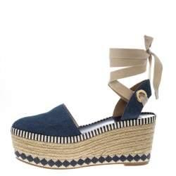 Tory Burch Blue Denim Dandy Ankle Wrap Espadrille Wedge Sandals Size 40