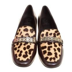Tory Burch Brown Leather and Leopard Print Cow Fur Gemini Link Detail Loafers Size 41