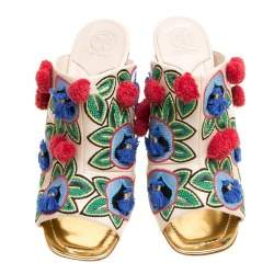 Tory Burch Multicolor Embroidered Leather Ellis Peep Toe Mules Size 41