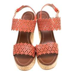 Tory Burch Coral Red Perforated Leather Daisy Cork Wedge Sandals Size 39