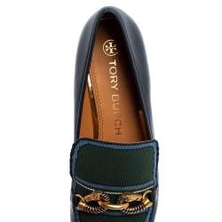 Tory Burch Navy Blue/Green Leather And Knit Jessa Loafers Size 39.5