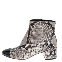Tory Burch Black/White Python Embossed Leather Shelby Ankle Boots Size 38.5