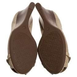 Tory Burch Beige Embossed Lizard Leather Julianne Peep Toe Wedge Pumps Size 39