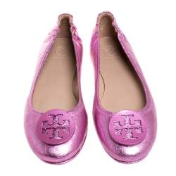 Tory Burch Metallic Pink Leather Minnie Travel Ballet Flats Size 40