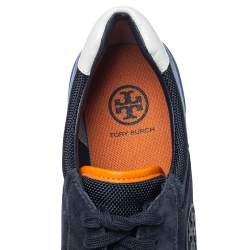 Tory Burch Blue Suede And Nylon Sawtooth Sneakers Size 38