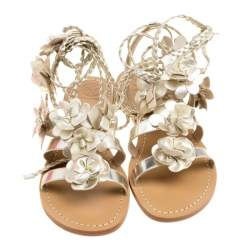 Tory Burch Metallic Gold Leather Blossom Floral Embellished Flat Gladiators Size 36