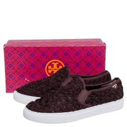 Tory Burch Brown Rosette Slip On Sneakers Size 40