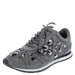 Tory Burch Grey Suede Scarlett Crystal Embellished Sneakers Size 37.5