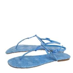 Toy Burch Blue Leather Emmy Thong Sandals Size 39