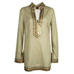 Tory Burch Green Cotton Sequin Embellished Long Sleeve Tunic M
