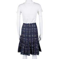 Tory Burch Navy Blue and White Checked Pleated Silk Wess Skirt L