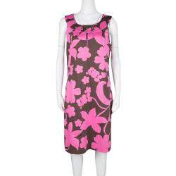 Tory Burch Brown and Pink Floral Printed Cotton Sleeveless Dress L