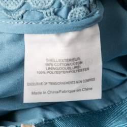 Tory Burch Blue Crescent Guipure Lace Slit Detail Maxi Skirt S