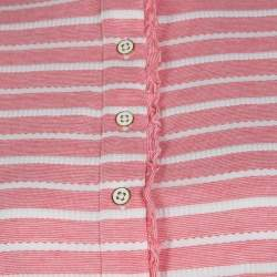 Tory Burch Pink and White Striped Knit Ruffle Detail T-Shirt S