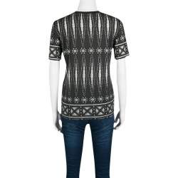 Tory Burch Monochrome Printed Pima Cotton T-Shirt XS