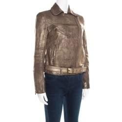 Tory Burch Metallic Washed Leather Biker Jacket S