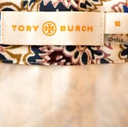 Tory Burch Cream Karina Print Cotton Silk Wrap Skirt M