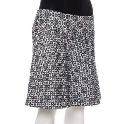 Tory Burch Navy Blue & White Textured Cotton Geometric Embroidered Burlap Mini Skirt M