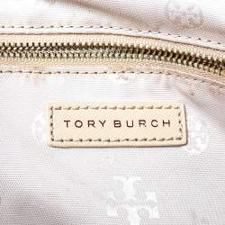 Tory Burch Cream Saffinao Leather Double Zip Tote