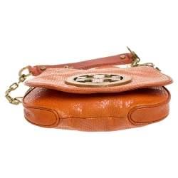 Tory Burch Orange Python Embossed Leather Amanda Crossbody Bag