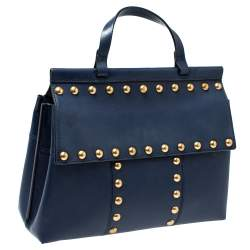 Tory Burch Navy Blue Leather Block-T Studded Top Handle Bag