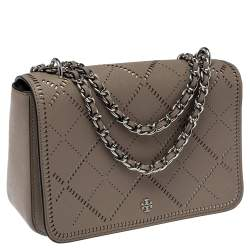 Tory Burch Grey Perforated Leather Robinson Crosshatch Shoulder Bag
