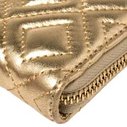 Tory Burch Gold Quilted Leather Marion Wallet