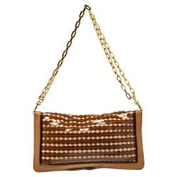 Tory Burch Brown/Gold Cut Out PVC, Fabric and Leather Reva Flap Chain Clutch