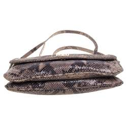Tory Burch Dark Beige Python Effect Leather Logo Flap Shoulder Bag
