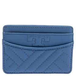 Tory Burch Cornflower Blue Quilted Leather Card Holder