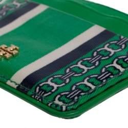 Tory Burch Green Coated Canvas Kira Card Holder