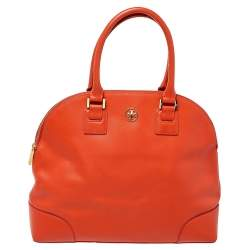 Tory Burch Burnt Orange Leather Robinson Dome Satchel