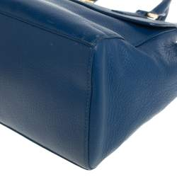 Tory Burch Blue Leather Mercer Double Zip Dome Satchel