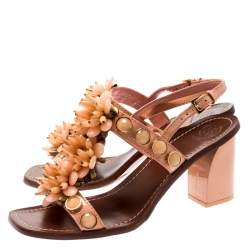 Tory Burch Coral Patent Leather Emilynn Beaded T-Strap Studded Ankle Strap Sandals Size 40.5