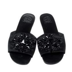 Tory Burch Black Gems Embellished Satin Delphine Flats Slides Size 39