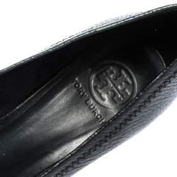 Tory Burch Black Leather Wedge Peep Toe Pumps Size 38