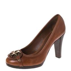 Tory Burch Brown Leather Logo Detail Pumps Size 39