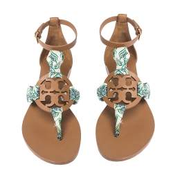 Tory Burch Brown Leather And Printed Scarf Miller Sandals Size 37