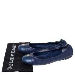 Tory Burch Blue Snake Embossed Leather Cap Toe Scrunch Ballet Flats Size 39