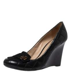 Tory Burch Black Suede And Quilted Leather Leila Wedge Loafer Pumps Size 38