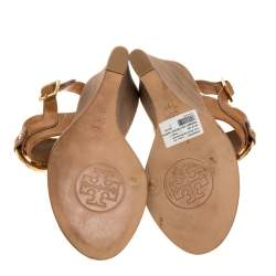 Tory Burch Brown Textured Leather Amanda High Wedge Sandals Size 37