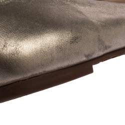 Tory Burch Metallic Gold Leather And Snake Print Cap Toe Bar Logo Ballet Flats Size 37