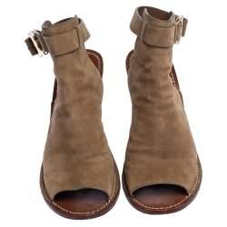 Tory Burch Beige Suede Open Toe Gemini Link Slingback Open Toe Sandals Size 38.5
