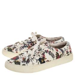 Tory Burch White Floral Print Leather Amalia Low Top Sneakers Size 39.5