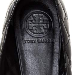 Tory Burch Black Quilted Leather Quinn Ballet Flats Size 37.5
