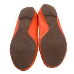 Tory Burch Orange Leather Minnie Scrunch Ballet Flats Size 39