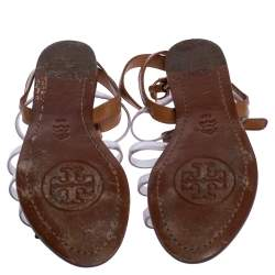 Tory Burch Brown Leather and PVC Kira Bow Detail Flat Sandals Size 36